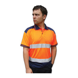 POLO SHIRT 2TONE ORANGE/NAVY