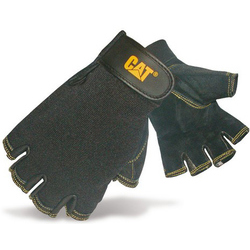 Caterpillar 12202 Reversed Half Finger Pigskin Gloves - Black