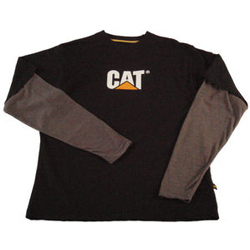 Caterpillar Contrast Layered Tee Shirt in Black/Grey