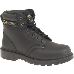 Unisex Black Leather 6 Eye Safety Boot Apprentice