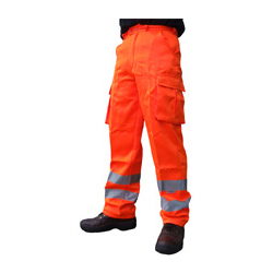 Orange Polyester Cotton Hi Vis Trousers