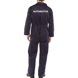 Click Navy boilersuit with South Devon College Automotive heat press to rear - REGULAR LEG