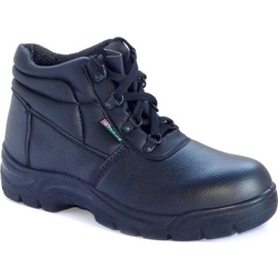 Black Leather 4 D Ring Anti Static Safety Boots
